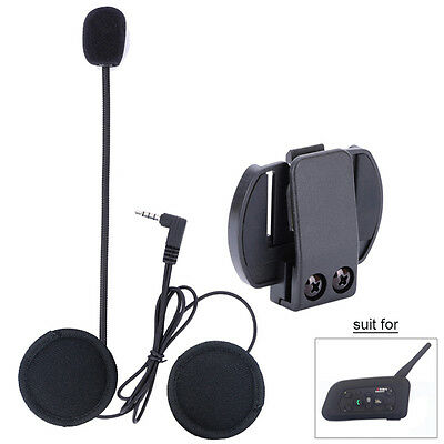 Wired Motorcycle Helmet Speaker Mic Stero Headset+Clip for V6 Bluetooth Intercom