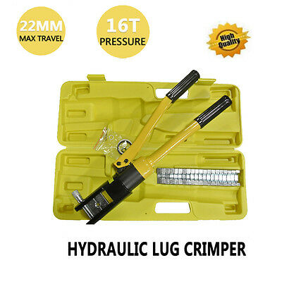 16 Ton 12 Dies Hydraulic Wire Crimper Tool Kit Crimp Cable Lug Terminal Yellow