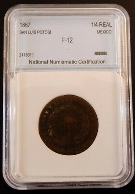 San Luis Potosi (Mexico) 1867 - 1/4 Real Coin Certified By The Nnc