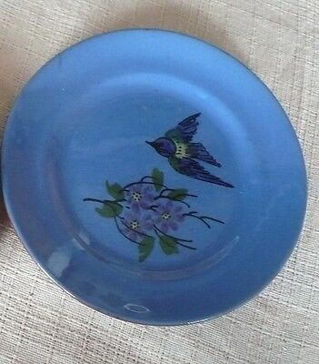 "DEVON WARE KINGFISHER PLATE 6 1/2"" IMPRESSED ""POTTERY ""rest of mark unclear"