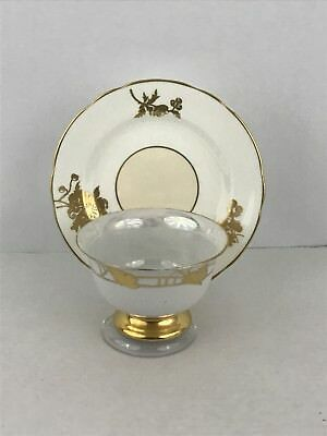 Hammersley and Co. Bone China Tea Cup and Saucer White with Gold Trim  #GS