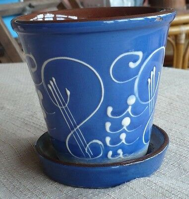 "DEVON WARE FLOWERPOT HOLDER & SAUCER Pot 4 1/2"" H"