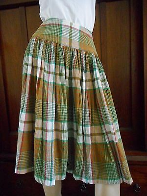 Vintage 80s COUNTRY ROAD - Check/ Plaid Gathered Summer SKIRT (fit sz S/ 8-10)