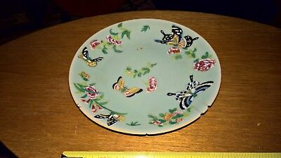 Antique 19th Century Chinese Celadon Plate  Butterflies and Flowers Famille Rose