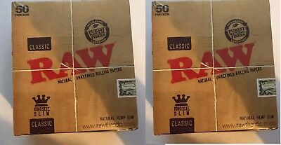 100 x RAW King Size Slim Classic Natural Unrefined Rizla Rolling Papers New