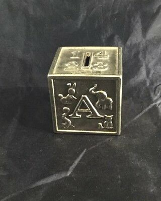 Baby Block Coin Bank Alphabet Animal Design Silver Plate Metal Silverplate