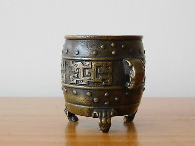 Antique Chinese Xuande Ming Small Bronze Dragon Censer