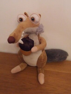 """Ice Age Collision Course 10"""" SCRAT Golden Acorn Soft Toy Plush Fluffly Tail"""