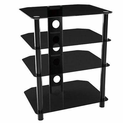 G-VO 4 Shelf Glass and Metal HiFi Audio/Video Component Stand, 70CM Height, 40KG