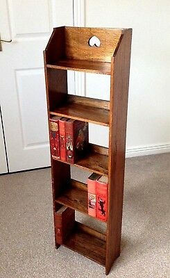 Arts and Crafts Narrow Oak Shelves Bookcase Circa 1900