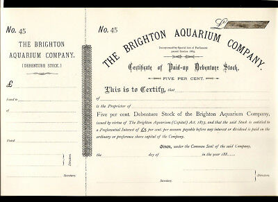 1873 Brighton Aquarium Company Share Certificate Great Britain Rare Original