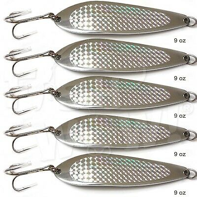 5pcs Fish WOW! 270ml Fishing Spoon with a Treble Hook 255g Fish Jig Bait Lures