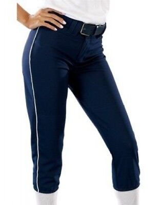(Medium, Navy/White) - Girls 410ml Low Rise Piped Pro Style Pant. Teamwork