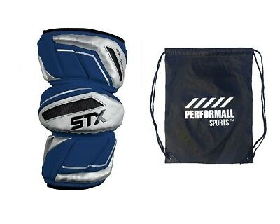 (Large, Navy-Blue) - STX Bundle: Shadow Lacrosse Arm Pads with 1 Performall