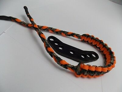 (WITH COBRA BRAID) - Woodland Camo & Orange Paracord Bow Wrist Sling By