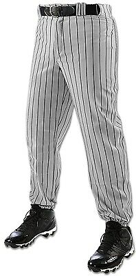(Medium, Grey/Black) - Champro Youth Triple Crown Pinstripe Pant