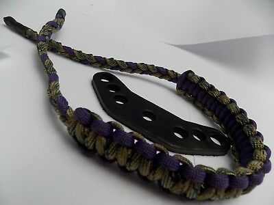 (WITH COBRA BRAID) - Multicamo & Purple Paracord Bow Wrist Sling By