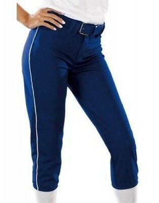 (Large, Royal Blue/White) - Girls 410ml Low Rise Piped Pro Style Pant. Teamwork