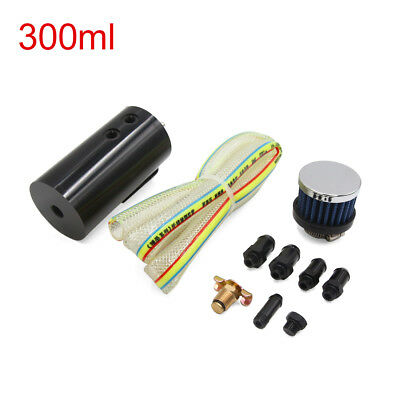 300ml Black Metal Car Coolant Overflow Radiator Water Tank Bottle w Air Filter
