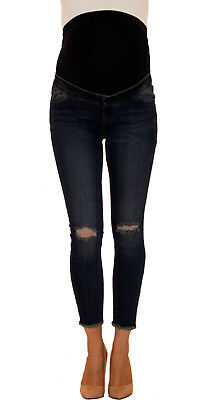 NEW LOOK Maternity Dark Blue Ripped Over Bump Skinny Jeans, Pregnancy Jeans