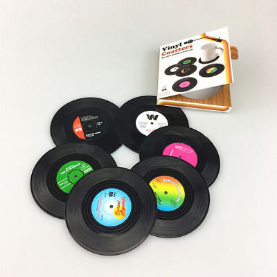 Retro Style Vinyl Record Coasters Pack of 6. Drink Bar Coaster Coffee Scotch