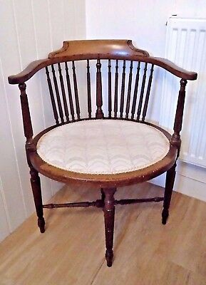Lovely Edwardian mahogany elbow chair for hall bedroom or dining room. Oval seat