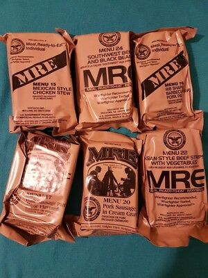 Choice of current MRE US rations, meal ready to eat. 6 to choose from. Menu A+B