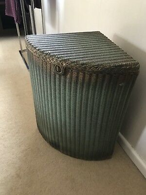 Original Vintage Green Lloyd Loom Corner Laundry Basket