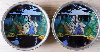 Pair Of Antique  Art Deco Butterfly Wing 'crinoline Lady' Pin Trays / Dishes Pat
