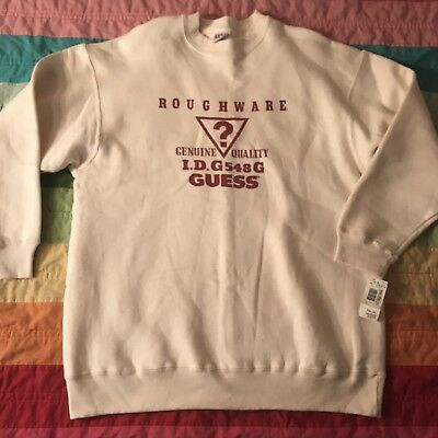 Vintage Guess Jeans Roughware Crewneck Sweatshirt Logo Triangle USA One Size New