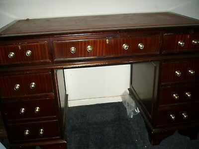 Twin Pedestal, Kneehole Desk, Red Leather & Gold Top 4ft x 2ft