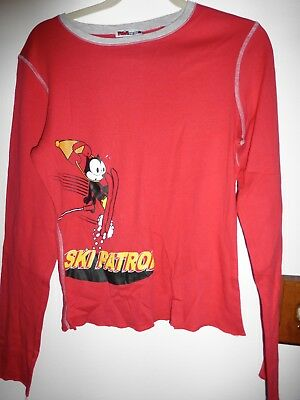 Vintage Felix the Cat Top Shirt, Size L, Ski- Patrol ,red L/S never worn, stored