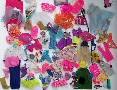 Lot Of Barbie Skipper Doll Clothes Dresses Shoes Shirts Hats Accessories 80's