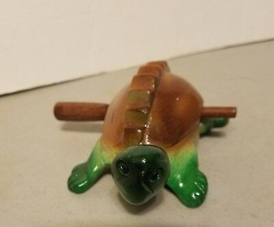 Vintage ! Thailand Wooden Turtle Hand Carved Croaking Sound Musical Toy
