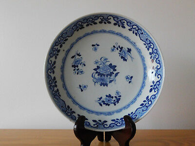c.18th - Antique Chinese Qianlong Blue & White Porcelain Plate Dish