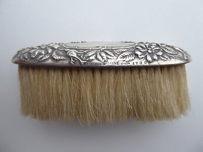 Antique Brush with Sterling Silver Baroque Style Repousse Top Handle