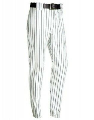 (Medium, White/Dark Green) - Youth Pinstripe 410ml Polyester Pant. Teamwork