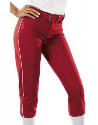 (Medium, Scarlet/White) - Girls 410ml Low Rise Piped Pro Style Pant. Teamwork