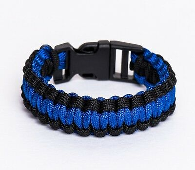 (Small) - Police Thin Blue Line Paracord Bracelet (Style #1). Hometown Guardians