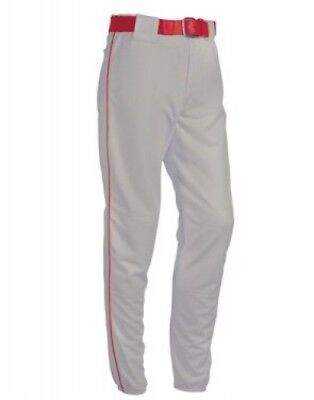 (Medium, Silver/Scarlet) - Youth Piped 410ml Polyester Pant. Teamwork