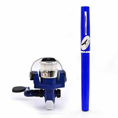(Blue) - PiscatorZone Mini Pocket Pen Fishing Rod Set Carbon Fibre Telescopic