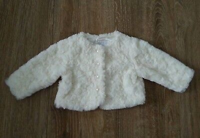 cool club baby girl 68cm 6-9 m bolero party christening cream fur winter perals