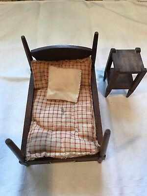 Vintage Dollhouse Antique Bed and Nightstand With Mattress and Pillow