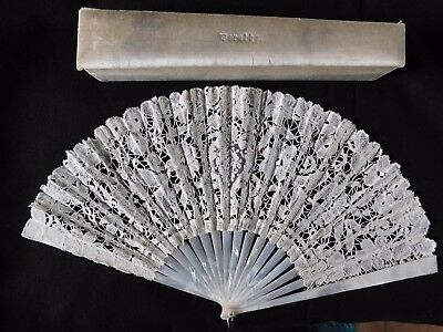 Antique Lace And Mother Of Pearl Hand Fan With Silk Covered Fan Box