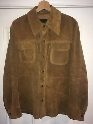 Mens Vintage JC Penney Heavy Suede Leather Jacket Coat Small Size 40