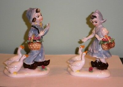 Pair Beautifully Detailed Vintage Arnart Creation Japan Boy Girl with Ducks 7992