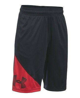 (Youth Large, Black/Red) - Under Armour Boys' Tech Shorts. Unbranded