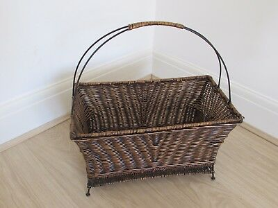 Vintage Antique Wicker Rattan Magazine Rack Basket Stand Metal Handle and Feet