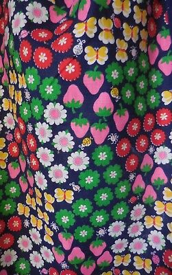 "VTG Garden Ladybug Quilt Fabric 16"" x 20"" Crazy Quilt Doll Clothing"