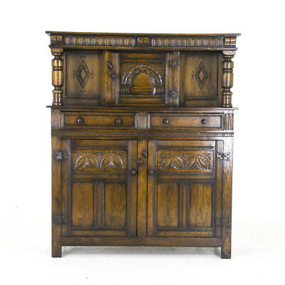 Antique Oak Court Cupboard, Vintage Carved Oak Sideboard, Scotland 1910, B870